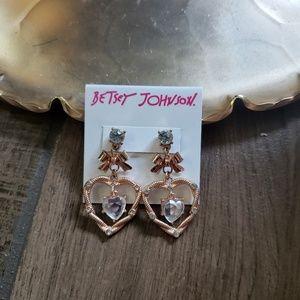 Betsey Johnson rose gold heart gem earrings bow